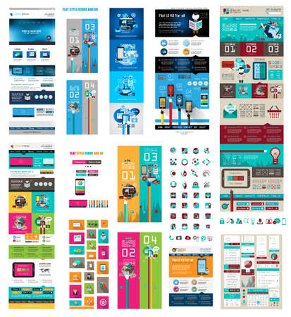 Mega Collection of Website templates, web headers, Footers, menu, drop menu, website icons, design elements for web pages, panels, buttons and so on. Illustration