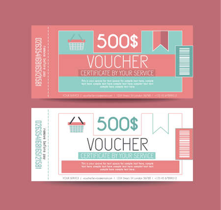 provided: Voucher Gift Card layout template for your promotional design. Space and fields for text, front and back provided. Illustration