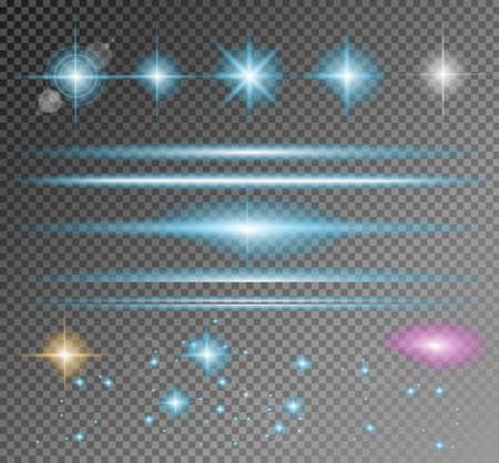 Sparkle Colección del vector con una gran cantidad de diferentes formas: relámpago, circolar punto de luces, barras transversales, chispas. Listo para copiar y pegar en cualquier fondo Ilustración de vector