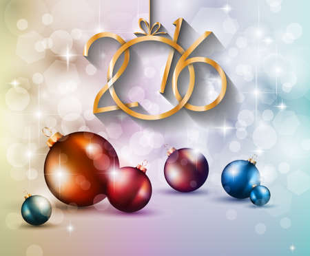 event party festive: 2016 Happy New Year Background for your Greetings Cards and Flyers. Ideal to use for parties invitation, Dinner invitation, Christmas Meeting events and so on. Illustration