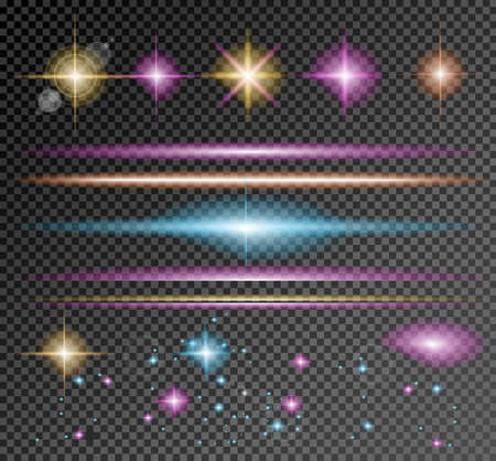 Vector Sparkle Collection with a lot of different Shapes: circolar lightning , point of lights, sparkle bars, cross sparkles. Ready to copy and past on whatever background Ilustração