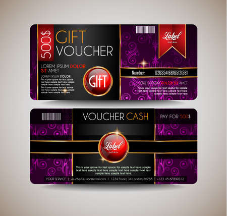special price: Voucher Gift Card layout template for your promotional design, tickets template, printed gift cards.. Space and fields for text, front and back provided.