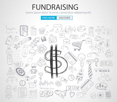fundraiser: Fundraising concept with Doodle design style :finding money, financial management, creative thinking. Modern style illustration for web banners, brochure and flyers. Illustration