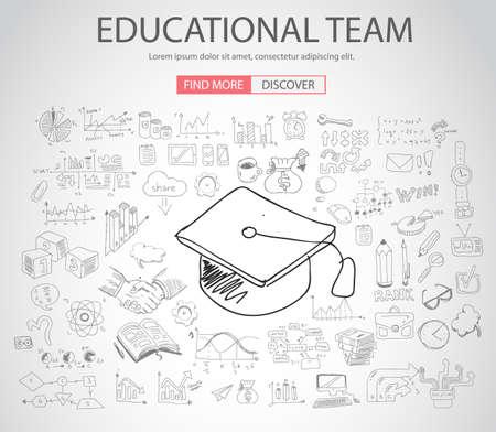 zeichnen: Bildungs-und Lern-Konzept mit Doodle Design-Stil: Lehr Lösung, Studien, kreative Ideen. Moderne Art-Illustration für Web-Banner, Broschüren und Flyer.