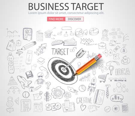 Business Targe Concept met Doodle design stijl: vinden van oplossingen, brainstormen, creatief denken. Moderne stijl illustratie voor web banners, brochure en flyers.