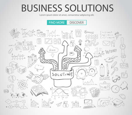 design drawing: Business Solutions concept  with Doodle design style :finding solution, brainstorming, creative thinking. Modern style illustration for web banners, brochure and flyers.