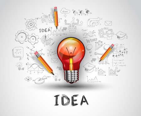 el concepto de idea con la bombilla y esboza doodle de iconos de infografía.