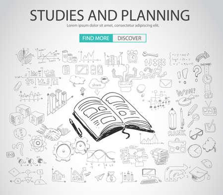pensamiento creativo: Estudios y Planificación concepto con el estilo de diseño del Doodle: la búsqueda de la solución, de intercambio de ideas, el pensamiento creativo. Ilustración de estilo moderno para la web banners, folletos y volantes.
