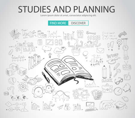 Studies and Planning concept with Doodle design style :finding solution, brainstorming, creative thinking. Modern style illustration for web banners, brochure and flyers.