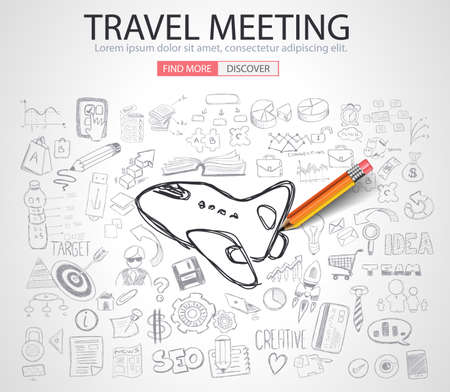 Travel for Business concept  with Doodle design style :finding solution, brainstorming, creative thinking. Modern style illustration for web banners, brochure and flyers.