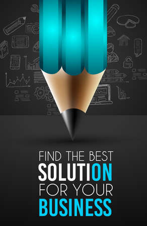 best idea: Best Business Solution Infographic Layout Template for data and information analysis with a number of solutions available. Ideal for product presentation, item ranking, ideas evaluation and so on. Illustration