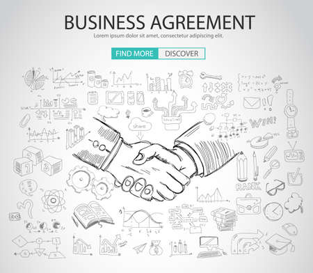 boceto: Business Agreement concept wih Doodle design style :finding solution, brainstorming, creative thinking. Modern style illustration for web banners, brochure and flyers.