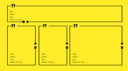 advertising material: Quotation Mark Frame with Flat style and space for text. Modern template layout for phrases citation, famous quotations, ideas, advertising, printed material and so on.