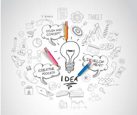 strategy: el concepto de idea con la bombilla y esboza doodle de iconos de infograf�a.