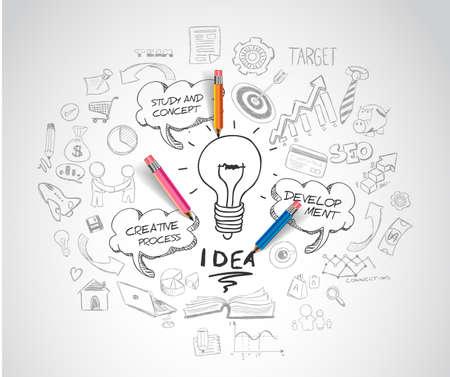 Koncepcja pomysł z żarówką i doodle szkice infografika ikony.