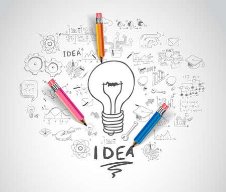 Idee Konzept mit Glühbirne und doodle Skizzen Infografik Icons.