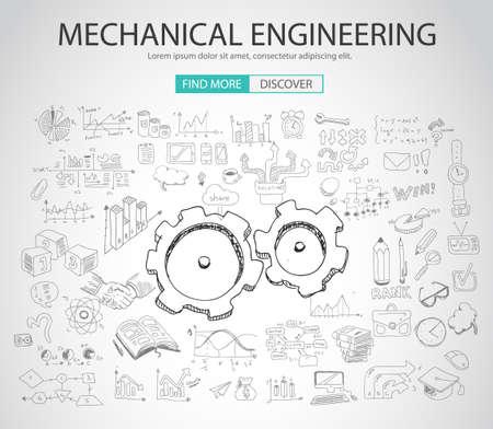 Concetto di ingegneria meccanica con stile Doodle disegno: soluzione fisica, re-engineering, parti design.Modern illustrazione stile di banner web, brochure e volantini. Vettoriali