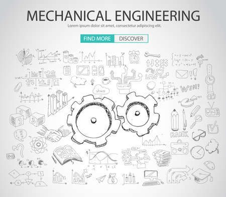 Mechanical Engineering concept met Doodle design stijl: physics oplossing, re-engineering, delen design.Modern stijl illustratie voor web banners, brochure en flyers. Stock Illustratie