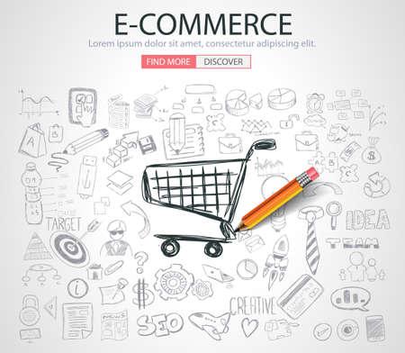 pensamiento creativo: Concepto del comercio electrónico con el estilo de diseño del Doodle: en la comercialización de línea, medios sociales, el pensamiento creativo. Ilustración de estilo moderno para la web banners, folletos y volantes.
