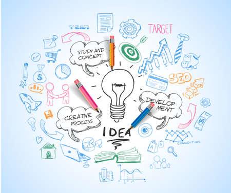 pensamiento creativo: el concepto de idea con la bombilla y esboza doodle de iconos de infografía.