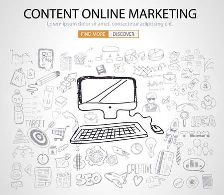On line marketing concept met Doodle design stijl: het vinden van ideeën, sociale media reclame, creatieve slogans. Moderne stijl illustratie voor het web banners, brochure en flyers. Stock Illustratie