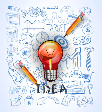 innovation: idea concept with light bulb and doodle sketches infographic icons.