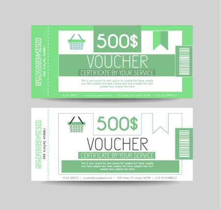 provided: Voucher Gift Card layout template for your promotional design, tickets template, printed gift cards.. Space and fields for text, front and back provided.