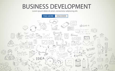 career icon: Business Development concept wih Doodle design style :finding solution, brainstorming, creative thinking. Modern style illustration for web banners, brochure and flyers.