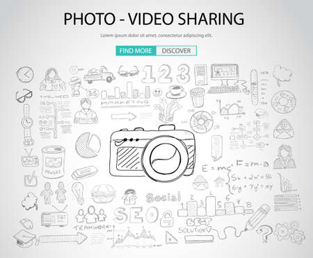 video sharing: Photo Video Sharing concept with Doodle design style: online solution, social media campain, creative ideas,Modern style illustration for web banners, brochure and flyers.