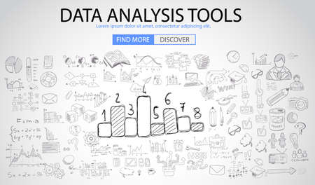 graphs and charts: Data Analysis Tools with Doodle design style :finding solution, brainstorming, creative thinking. Modern style illustration for web banners, brochure and flyers.