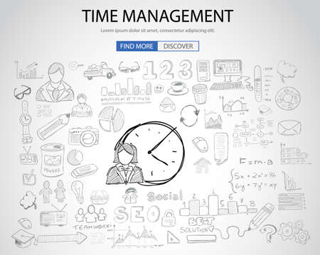 smart goals: Time Management concept with Doodle design style :finding solution, brainstorming, creative thinking. Modern style illustration for web banners, brochure and flyers. Illustration