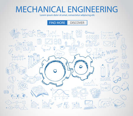 engineering concept: Mechanical Engineering concept with Doodle design style :physics solution, re-engineering, parts design.Modern style illustration for web banners, brochure and flyers.