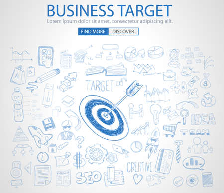target thinking: Business Target Concept with Doodle design style :finding solution, brainstorming, creative thinking. Modern style illustration for web banners, brochure and flyers.