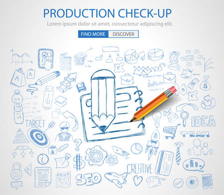 check up: Production Check Up concept with Doodle design style :physical check, parts testing .Modern style illustration for web banners, brochure and flyers.