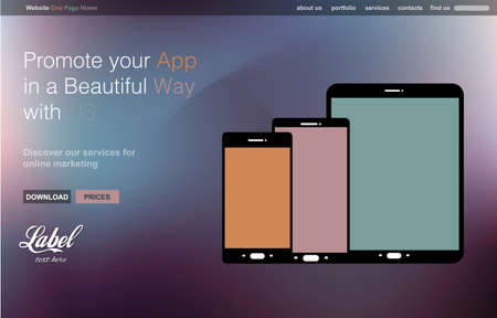 page layout: One Page Clear Modern Website template for an App showcase with smartphone and tablets flat style icons ans space for text. Illustration