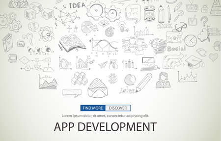 internet marketing: App Development Concept with Doodle design style :user interfaces, UI design,creative thinking. Modern style illustration for web banners, brochure and flyers. Illustration