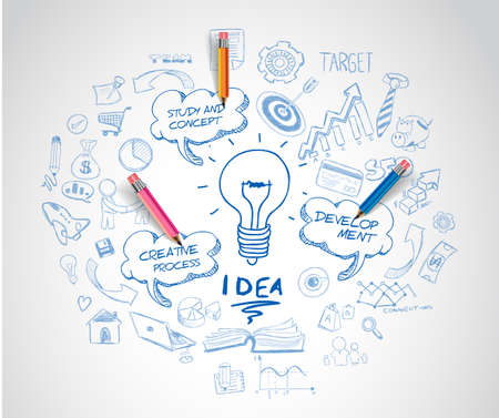 lightbulbs: idea concept with light bulb and doodle sketches infographic icons hand drawn.