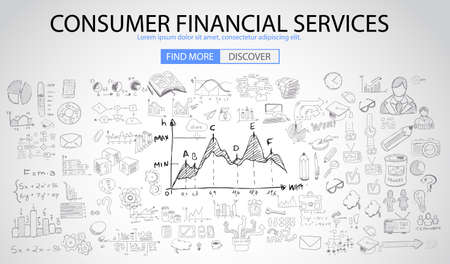 spending money: Consumer Financial Services concept with Doodle design style :finding solution, money spending, money investment. Modern style illustration for web banners, brochure and flyers. Illustration
