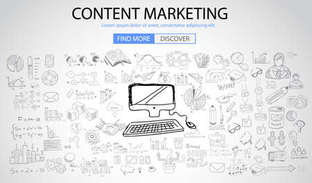 Content Marketing concept met Doodle design stijl: online oplossing, sociale media Campain, creatieve ideeën, moderne stijl illustratie voor web banners, brochure en flyers. Stock Illustratie