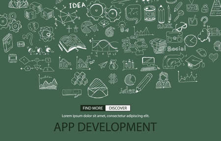 mobile app: App Development Concept with Doodle design style :user interfaces, UI design,creative thinking. Modern style illustration for web banners, brochure and flyers. Illustration
