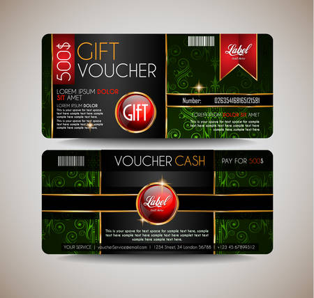 Voucher Gift Card layout template for your promotional design, tickets template, printed gift cards.. Space and fields for text, front and back provided.