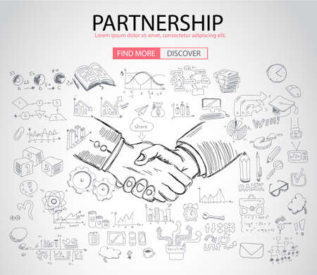 web solution: PartnerShip concept  with Doodle design style :finding solution, brainstorming, creative thinking. Modern style illustration for web banners, brochure and flyers.