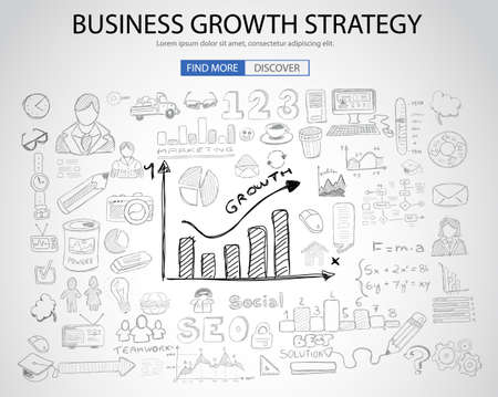 web solution: Business Growth Strategy  with Doodle design style :finding solution, brainstorming, creative thinking. Modern style illustration for web banners, brochure and flyers.