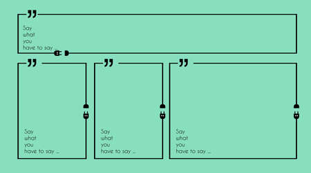 printed material: Quotation Mark Frame with Flat style and space for text. Modern template layout for phrases citation, famous quotations, ideas, advertising, printed material and so on.