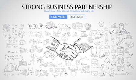 pensamiento creativo: Concepto de la sociedad de negocios fuerte facturan con el estilo de diseño del Doodle: la búsqueda de una solución, de intercambio de ideas, el pensamiento creativo. ilustración de estilo moderno para la web banners, folletos y volantes. Vectores