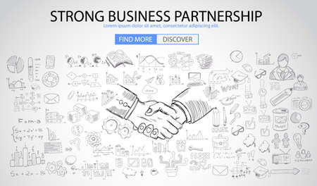 Strong Business Partnership concept wih Doodle design style :finding solution, brainstorming, creative thinking. Modern style illustration for web banners, brochure and flyers.