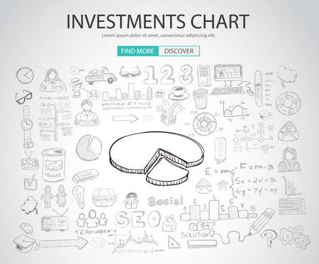values: Investment Chart concept with Doodle design style :teaching solution, studies, creative ideas. Modern style illustration for web banners, brochure and flyers. Illustration