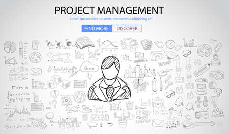 line drawing: Project Management concept with Doodle design style :people inteview, skill testing, clear selection. Modern style illustration for web banners, brochure and flyers. Illustration