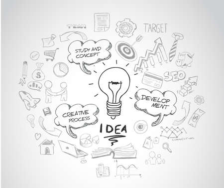 idea concept with light bulb and doodle sketches infographic icons hand drawn.