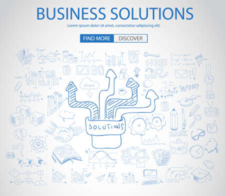 concept and ideas: Business Solutions Concept with Doodle design style :finding solution, brainstorming, creative thinking. Modern style illustration for web banners, brochure and flyers.